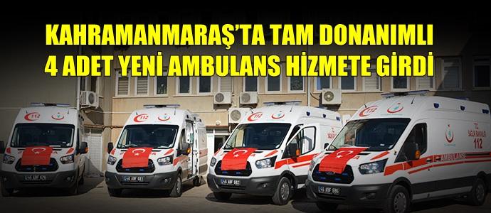 KAHRAMANMARAŞ'TA TAM DONANIMLI 4 ADET YENİ AMBULANS HİZMETE GİRDİ